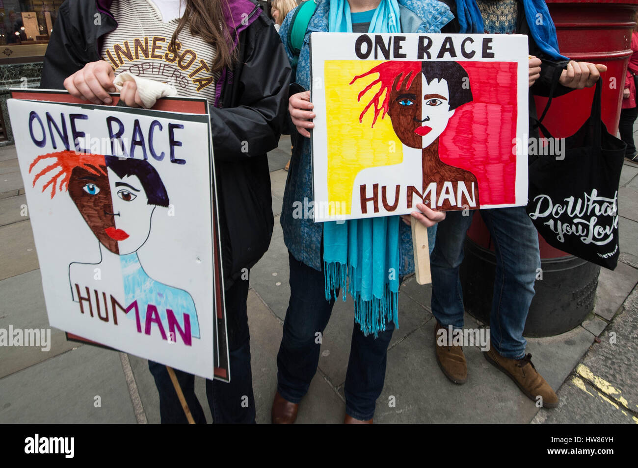 London, UK. 18th March, 2017. UN International Anti-Racism Day draws tens of thousands of protesters. © Guy Corbishley/Alamy Stock Photo