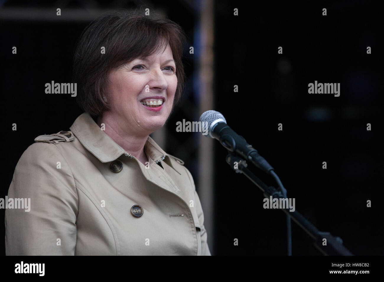 London, UK. 18th March, 2017. Frances O'Grady, General Secretary of the Trades Union Congress (TUC), addresses - Stock Image