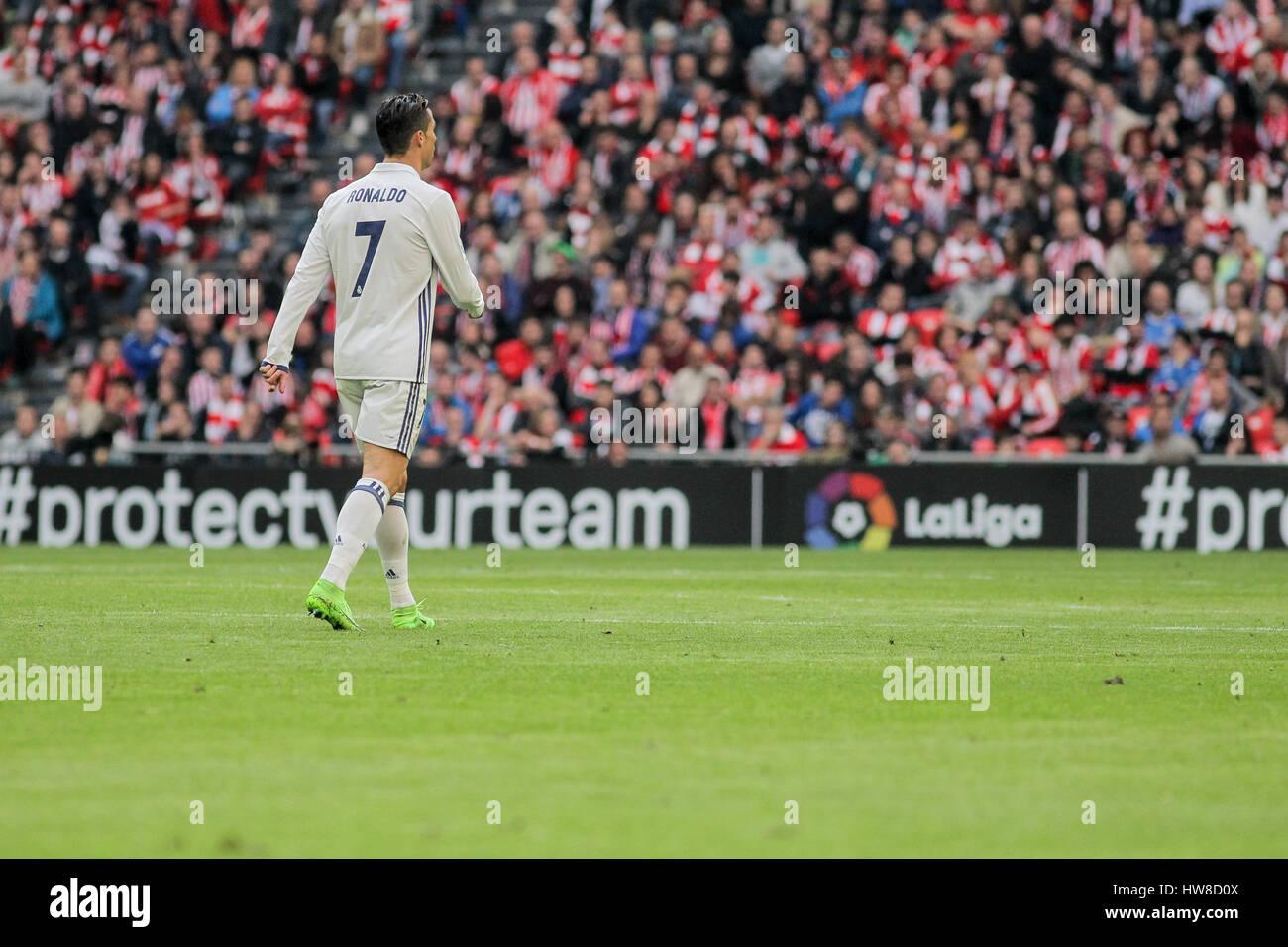 Bilbao, Vizcaya, Spain. 18th March, 2017. Cristiano Ronaldo during the Liga Santander match between Athletic Bilbao - Stock Image