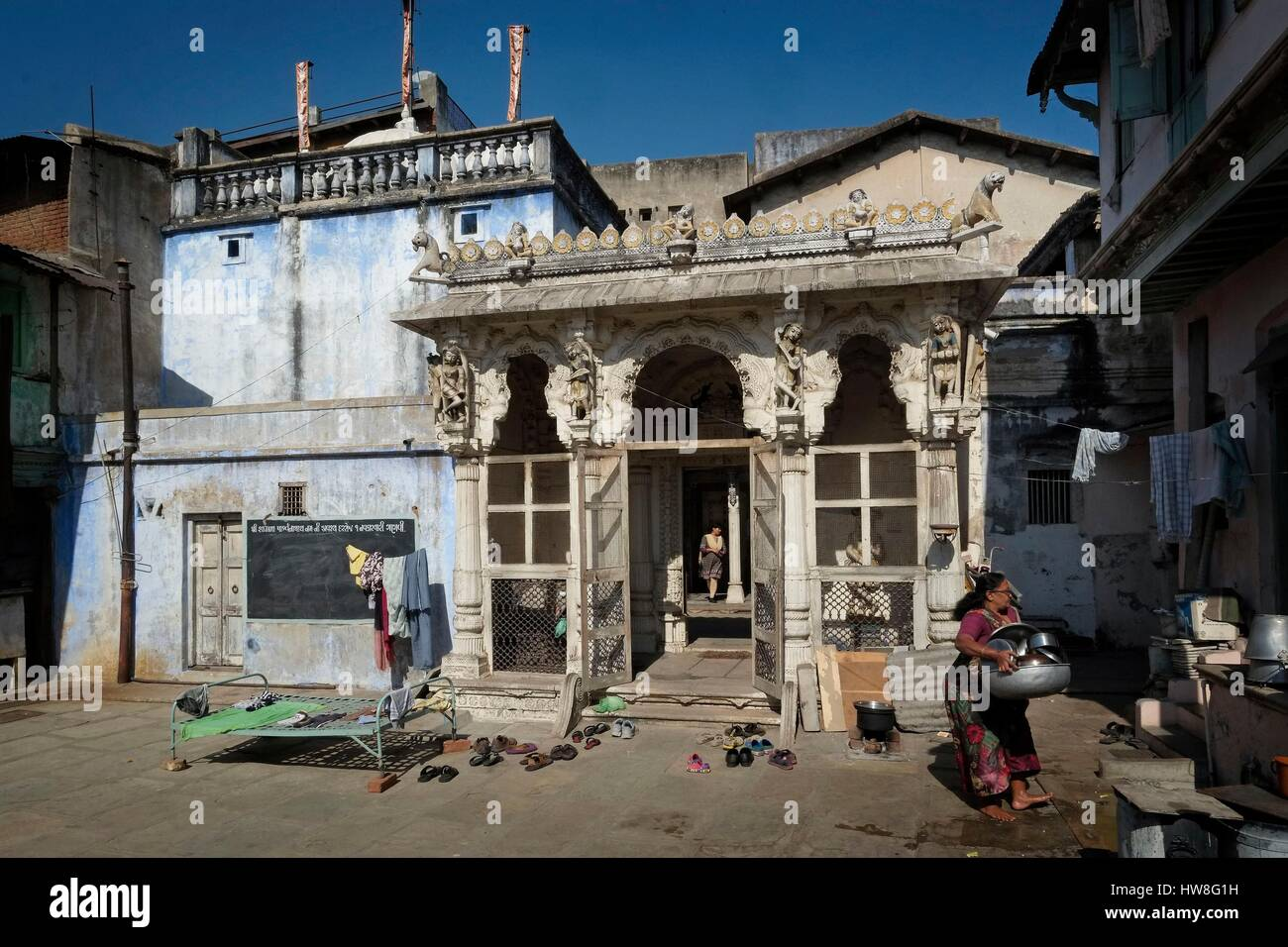 India, Gujarat State, Ahmedabad, listed as World Heritage by UNESCO, old houses in the historic center of Ahmedabad, - Stock Image
