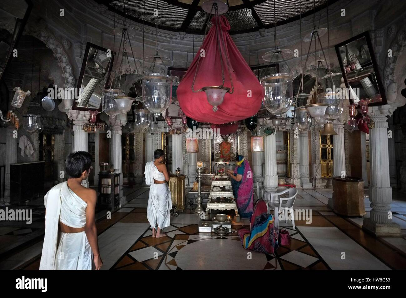 India, Gujarat State, Ahmedabad, listed as World Heritage by UNESCO, Jain temple in the historic center of Ahmedabad, - Stock Image