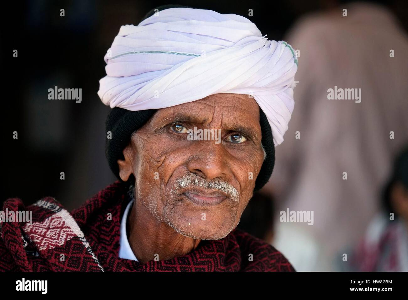 India, Gujarat State, Ahmedabad, listed as World Heritage by UNESCO, portrait of man with a turban Stock Photo