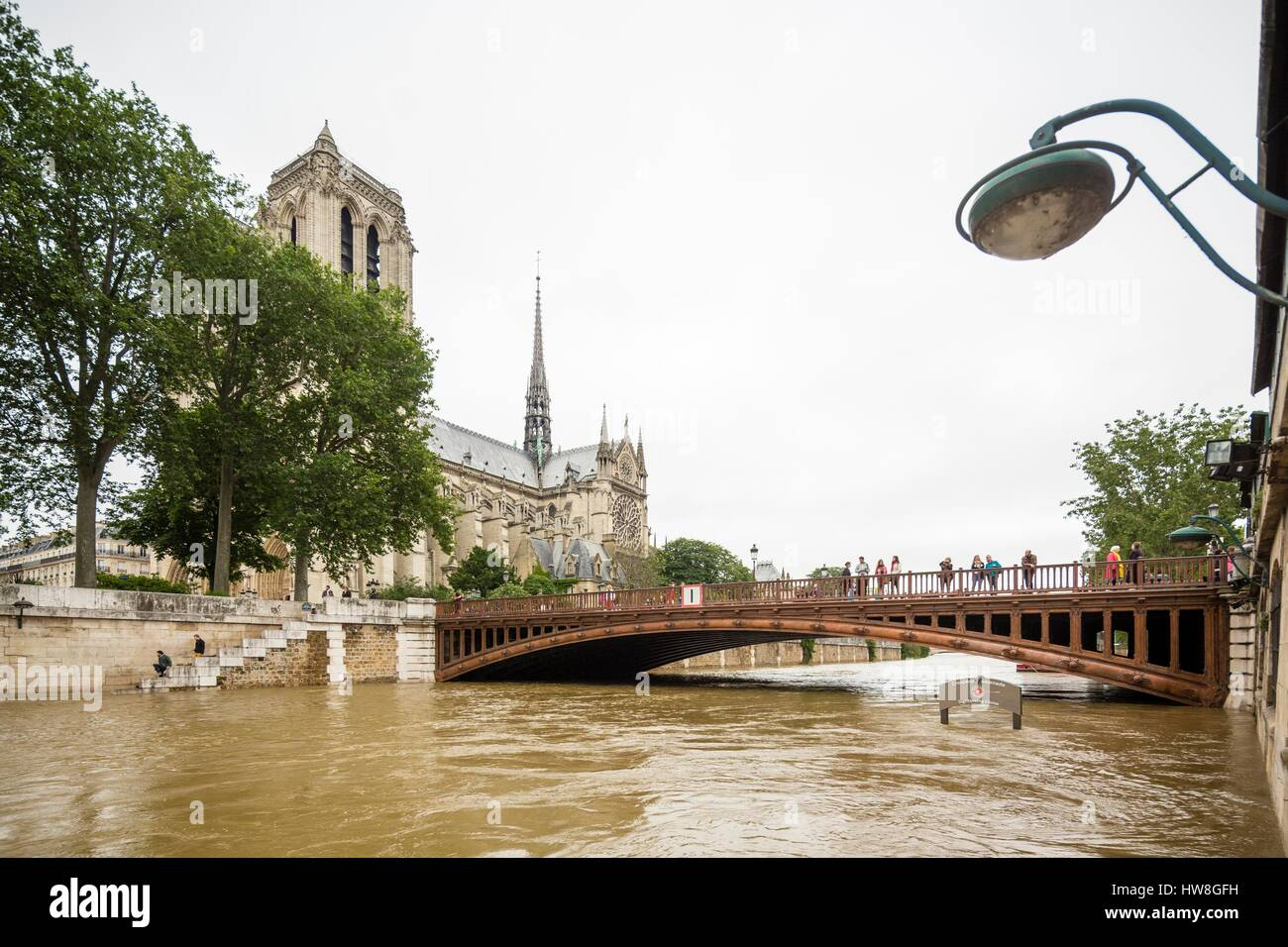 France, Paris, area listed as World Heritage by UNESCO, the flood of the Seine river on June 3, 2016 with a height - Stock Image