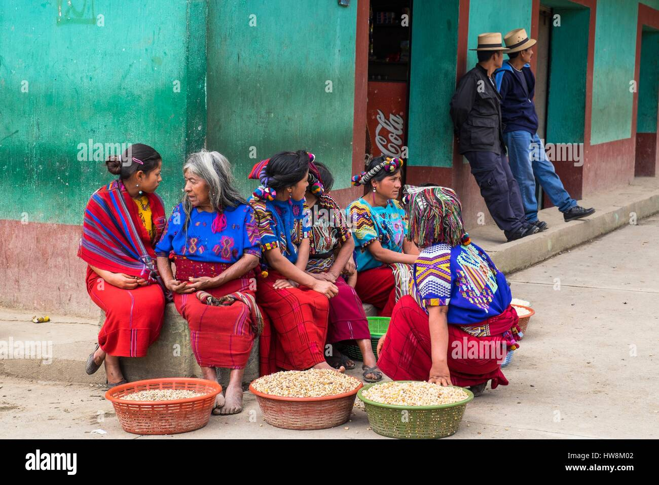 Guatemala, Quiche department, Nebaj, Ixil Mayan village, nestled in the Sierra de los Cuchumatanes, festival day - Stock Image