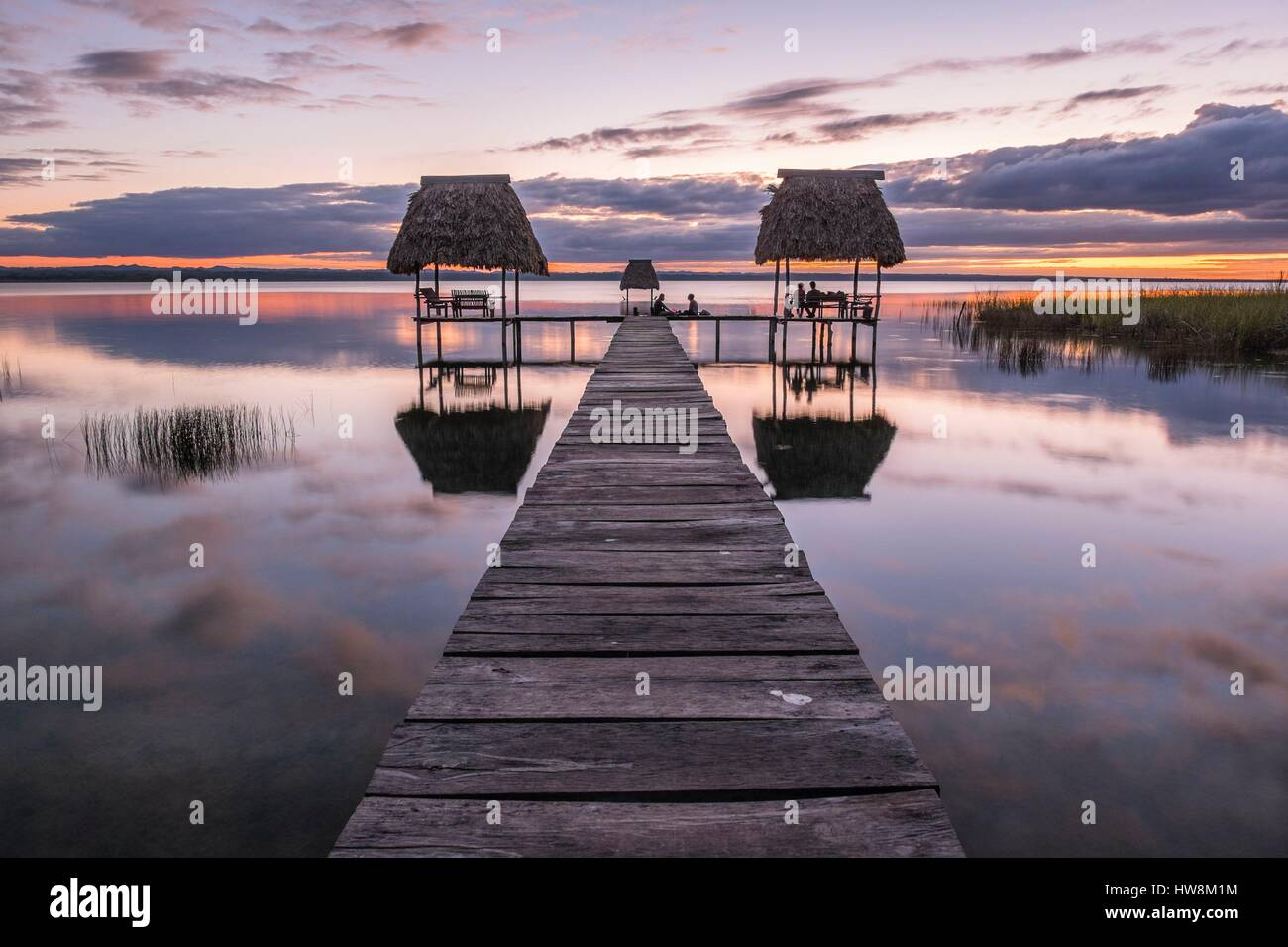 Guatemala, Peten department, El Remate, little village on the east side of Lake Peten Itza - Stock Image