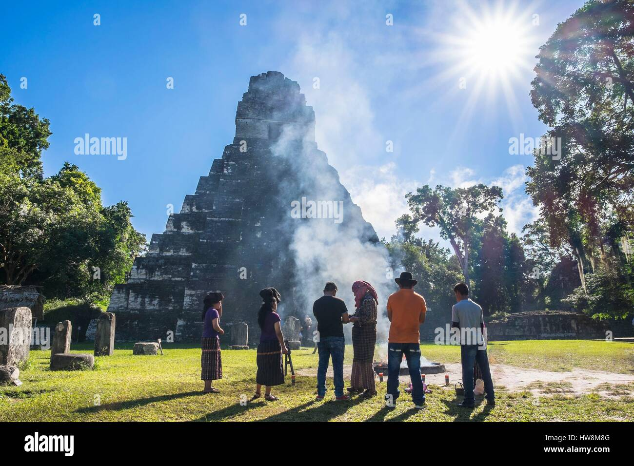 Guatemala, Peten department, Tikal National Park, a UNESCO World Heritage site, mayan ceremony on Gran Plaza - Stock Image