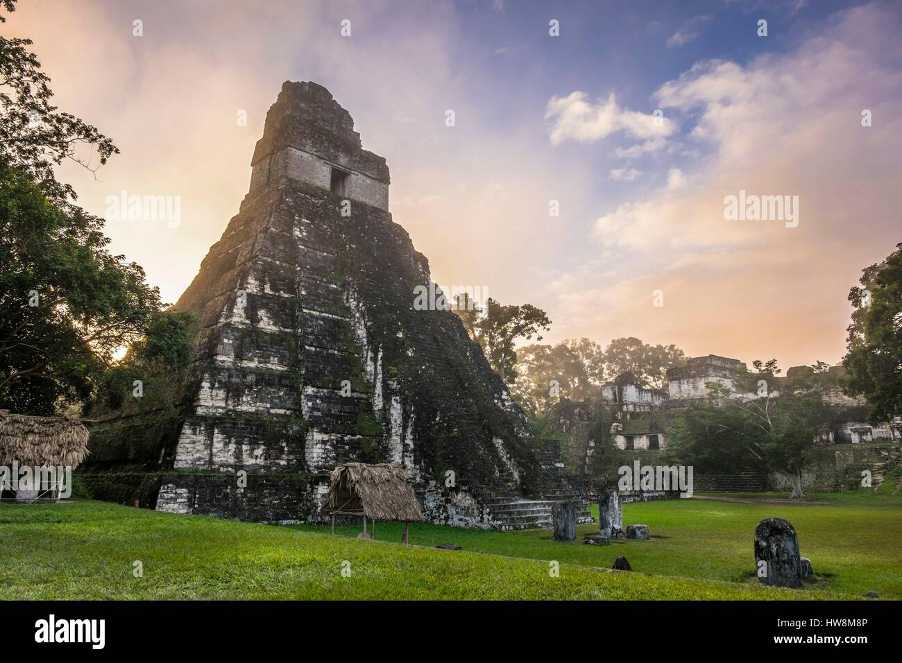 Guatemala, Peten department, Tikal National Park, a UNESCO World Heritage site, Gran Plaza, Temple I or Temple of - Stock Image