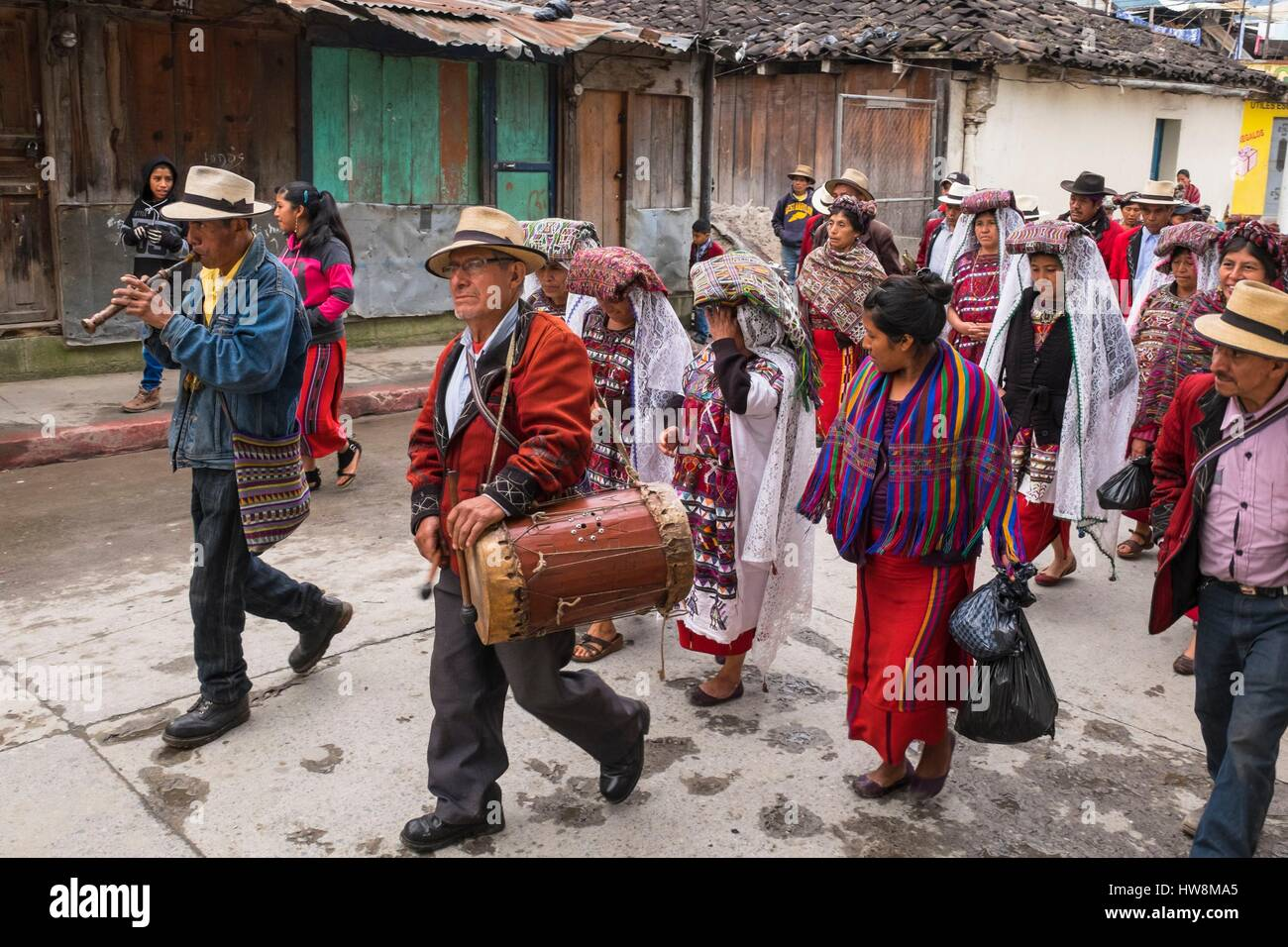Guatemala, Quiche department, Nebaj, Ixil Mayan village, nestled in the Sierra de los Cuchumatanes - Stock Image