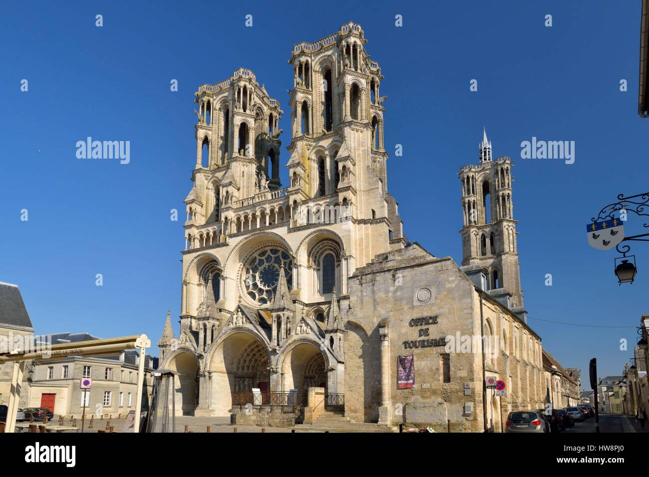 France, Aisne, Laon, cathedral Notre Dame built between 1150 and 1180 Stock Photo