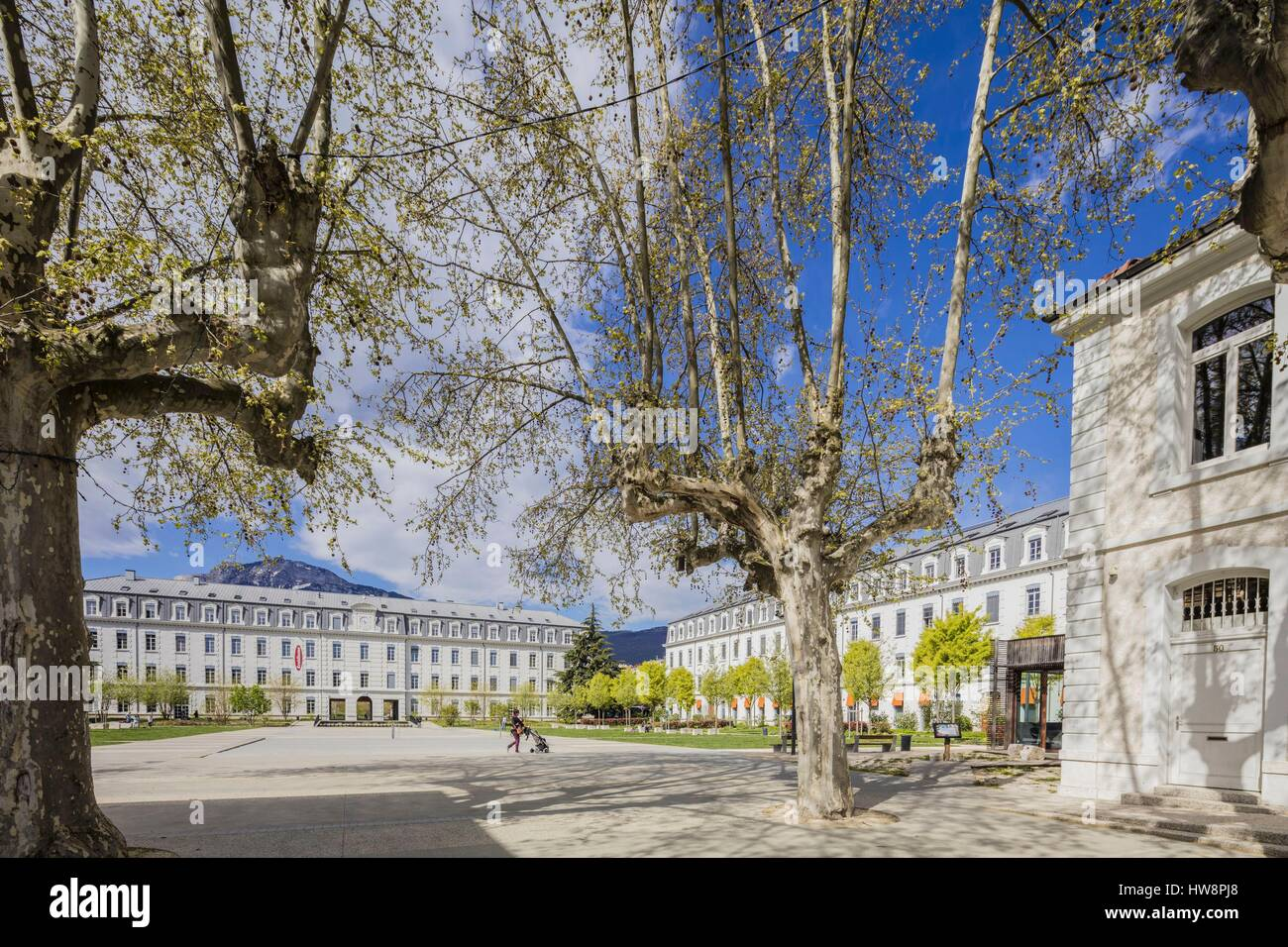 France, Isere, Grenoble, the Eco Quartier de Bonne, the Cour d'honneur created at the place of the ancient barracks, - Stock Image