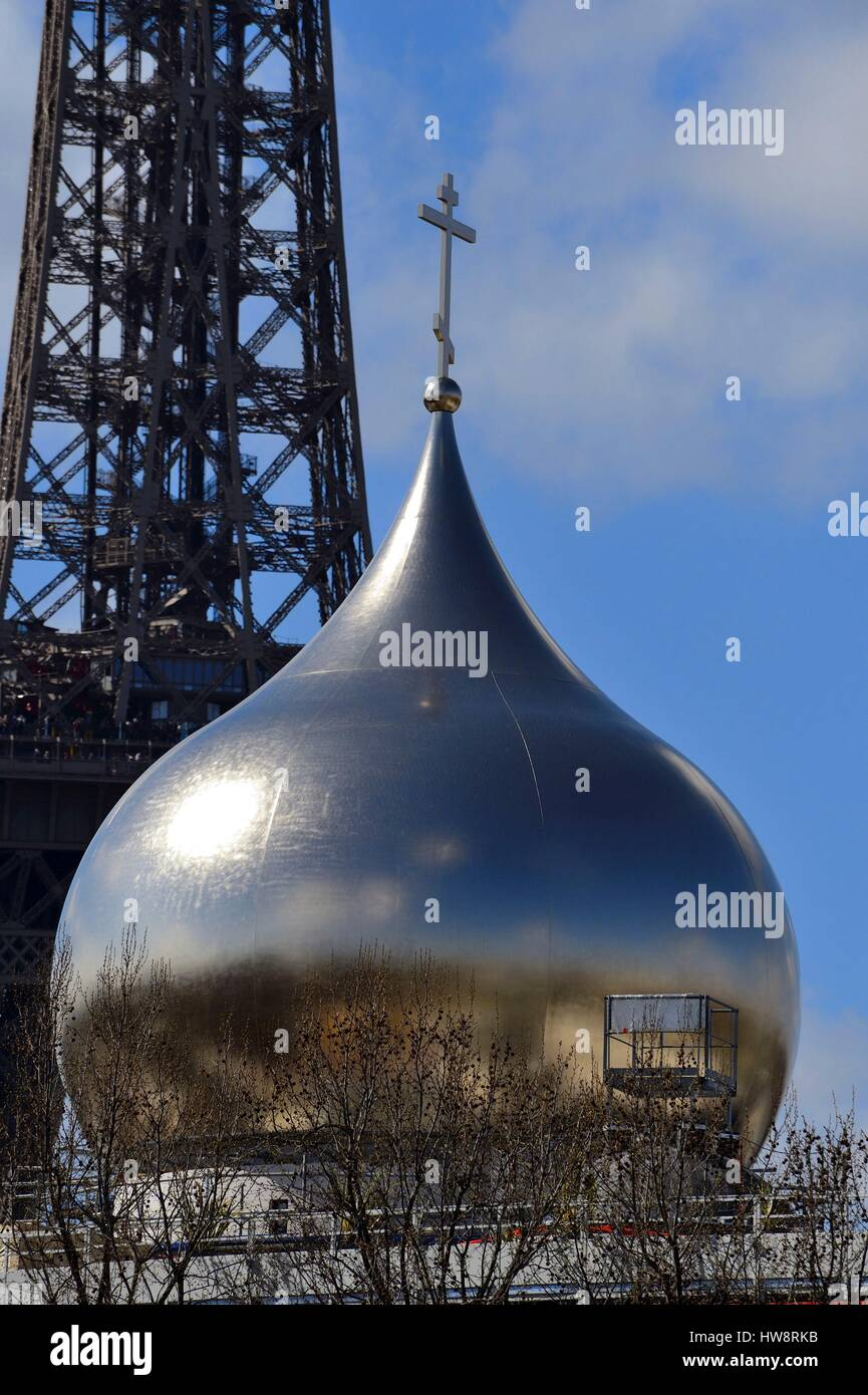 France, Paris, the central dome of the Holy Trinity Russian Church Quai Branly - Stock Image