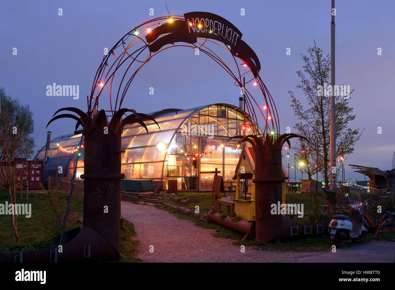 Netherlands, Northern Holland, Amsterdam, North IJ banks, NDSM district, NDSM Werf, Noordelicht cafe restaurant - Stock Image