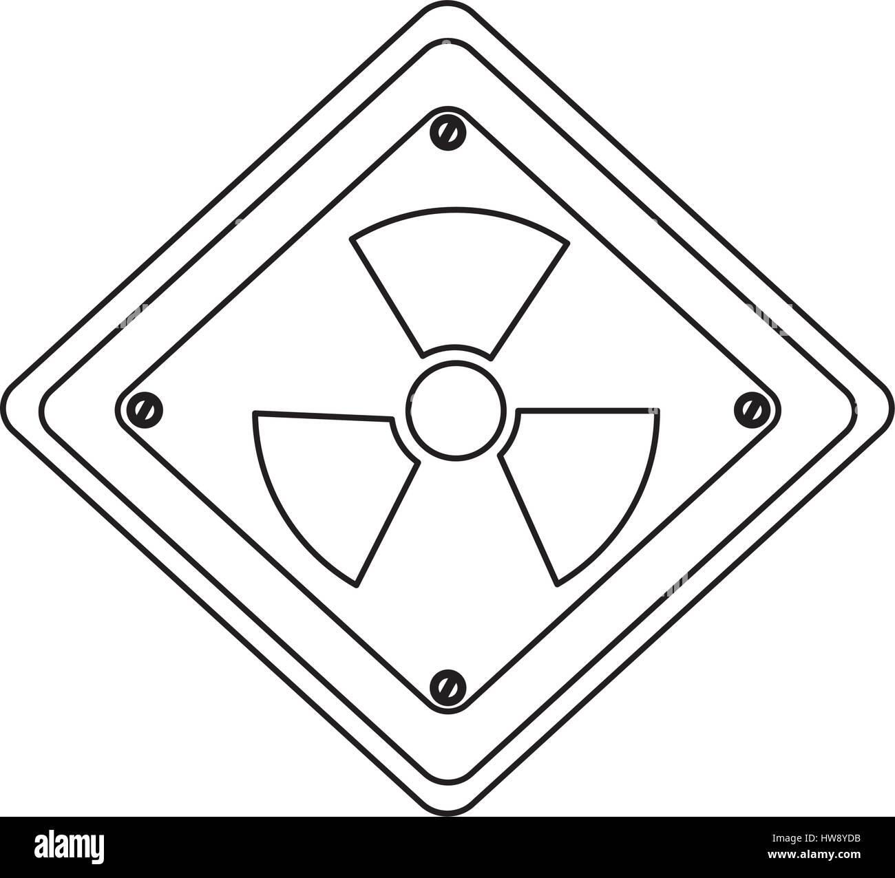 silhouette metal emblem warning radiation sign - Stock Vector