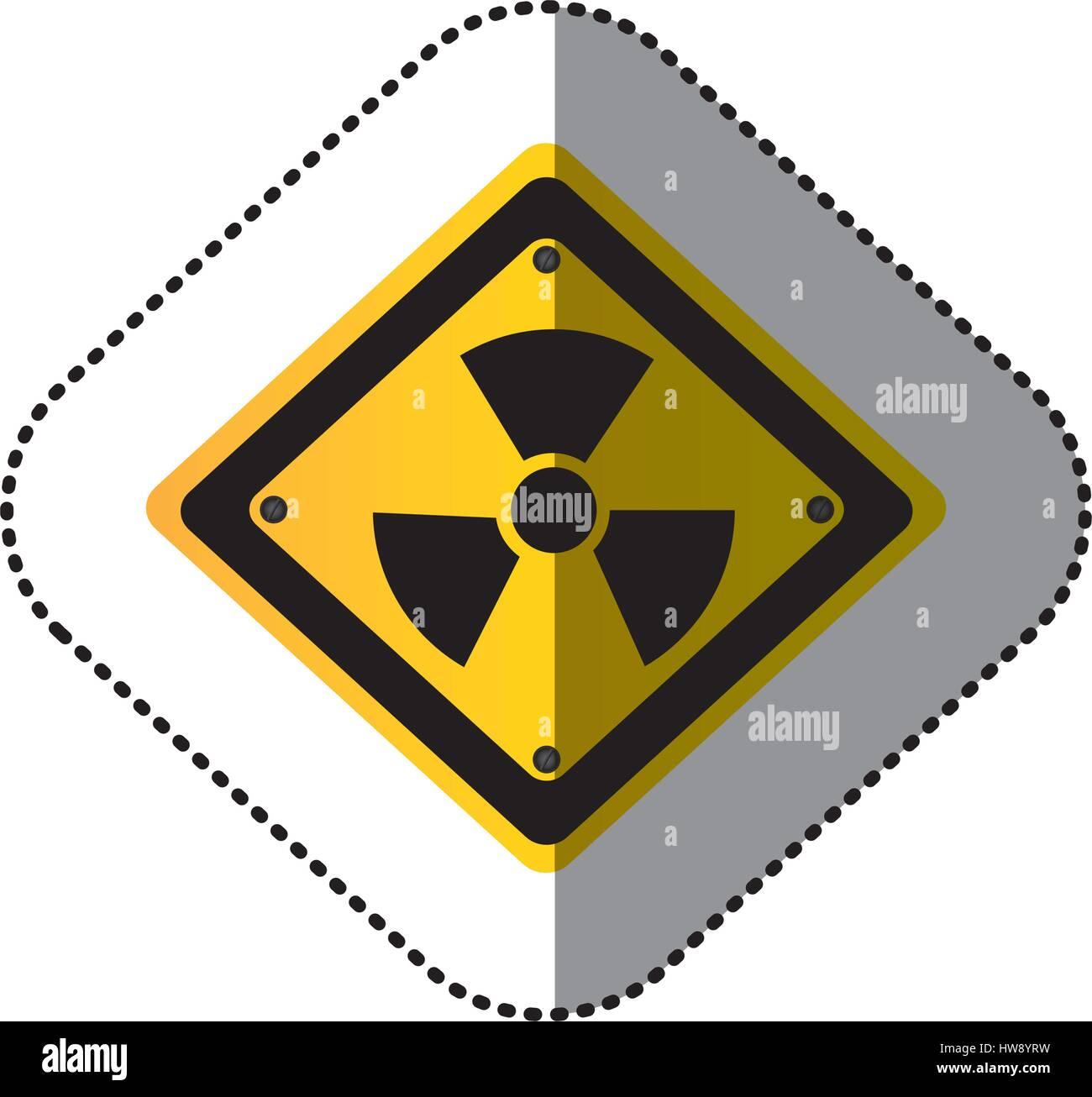 yellow metal emblem warning radiation sign Stock Vector