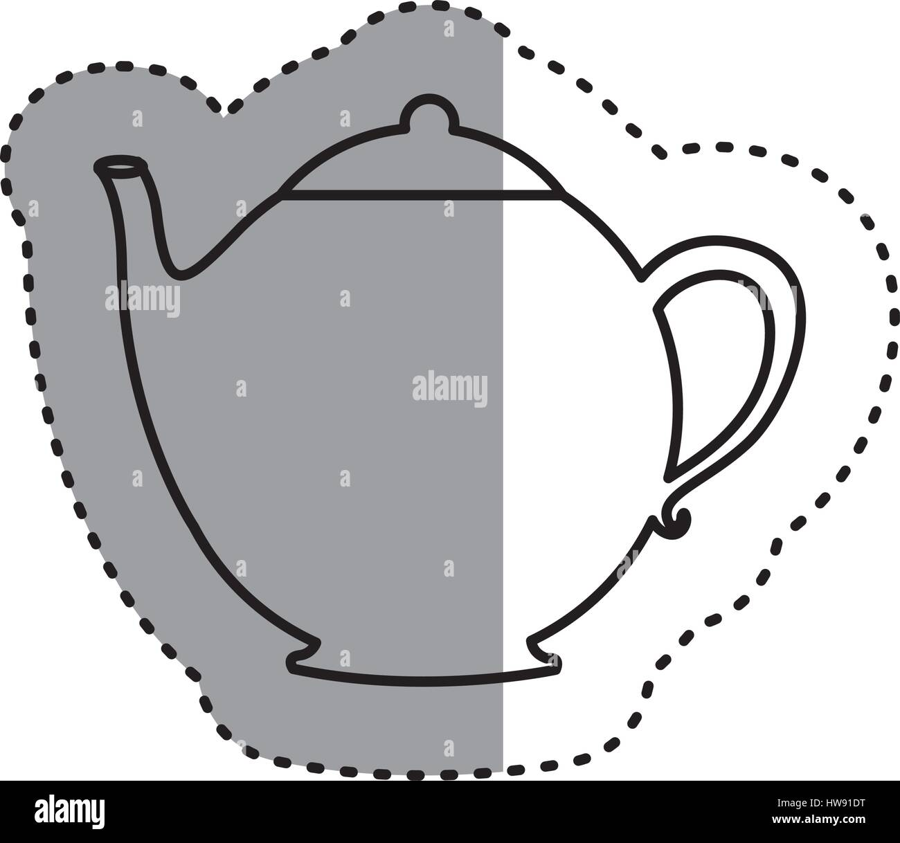 sticker silhouette teapot icon drink - Stock Vector
