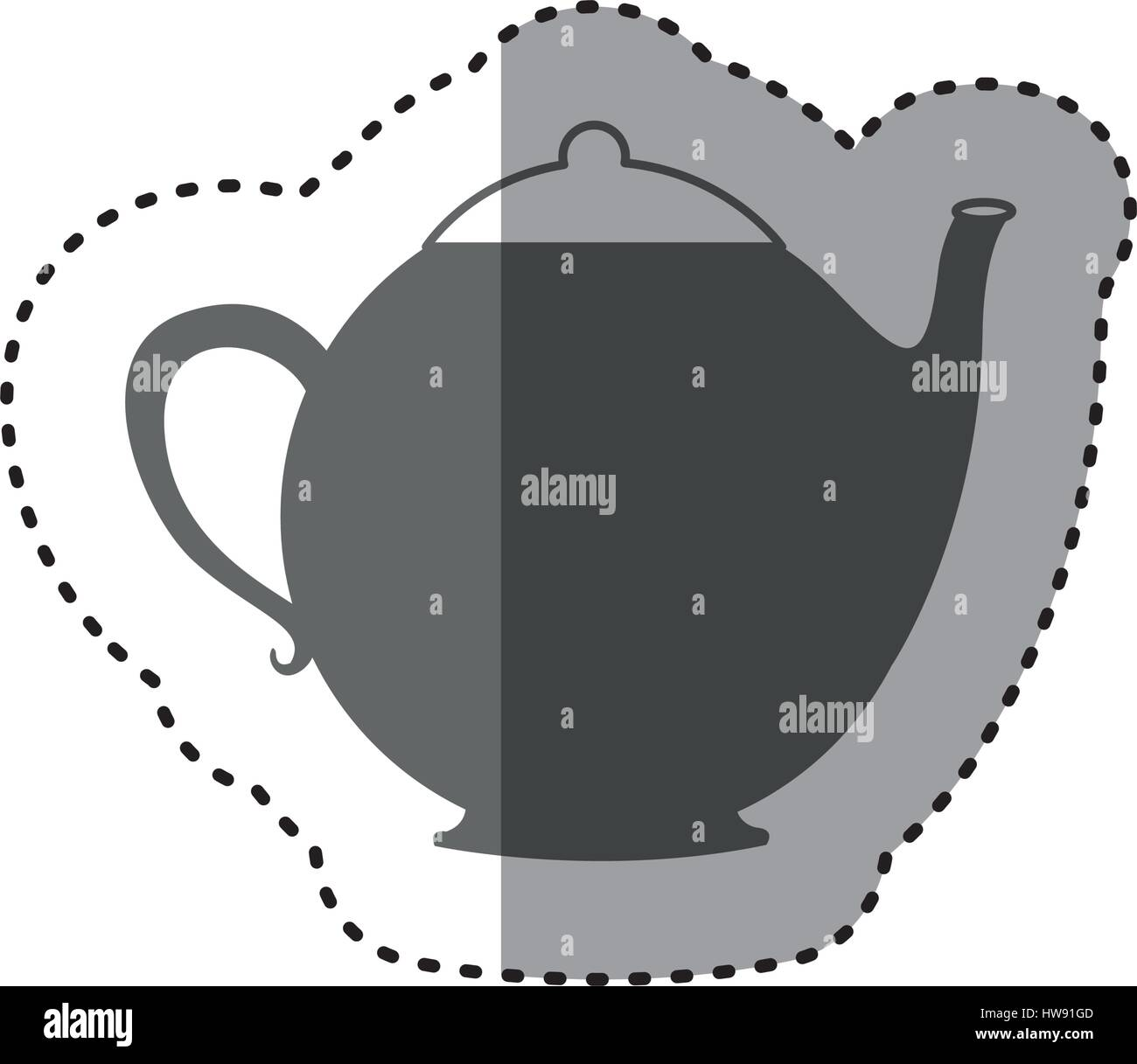 sticker monochrome silhouette teapot icon drink - Stock Vector