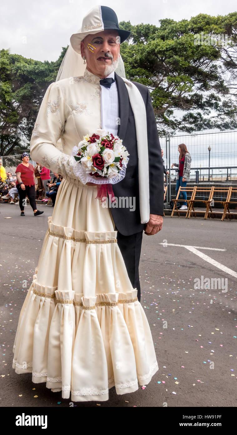 Man in half man, half woman costume, Tenerife Carnival ... - photo#32