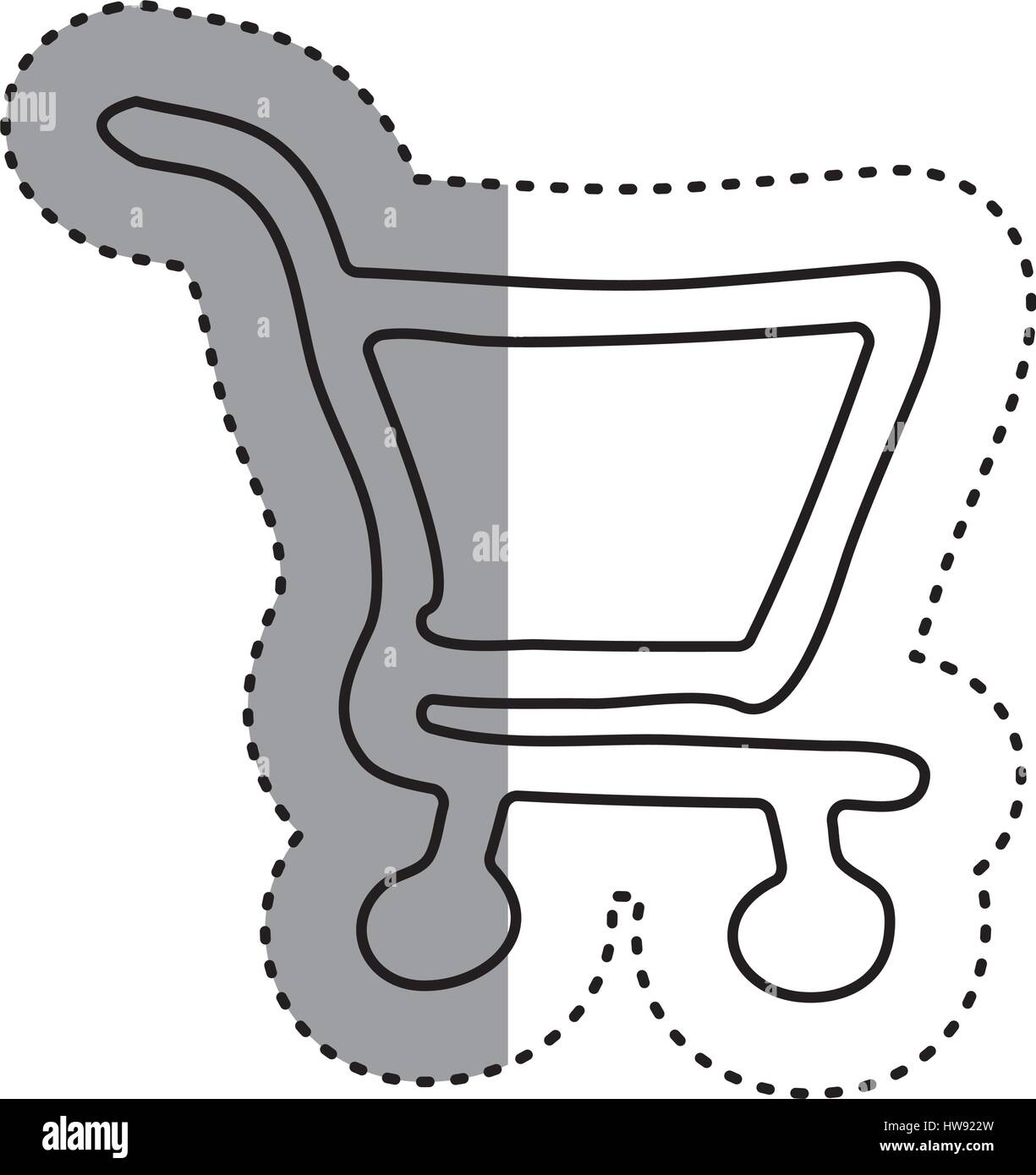 sticker contour supermarket shopping cart icon - Stock Vector