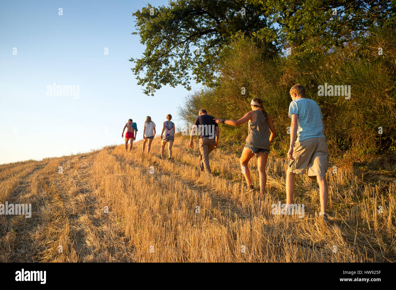 Family on a hike in Italy - Stock Image