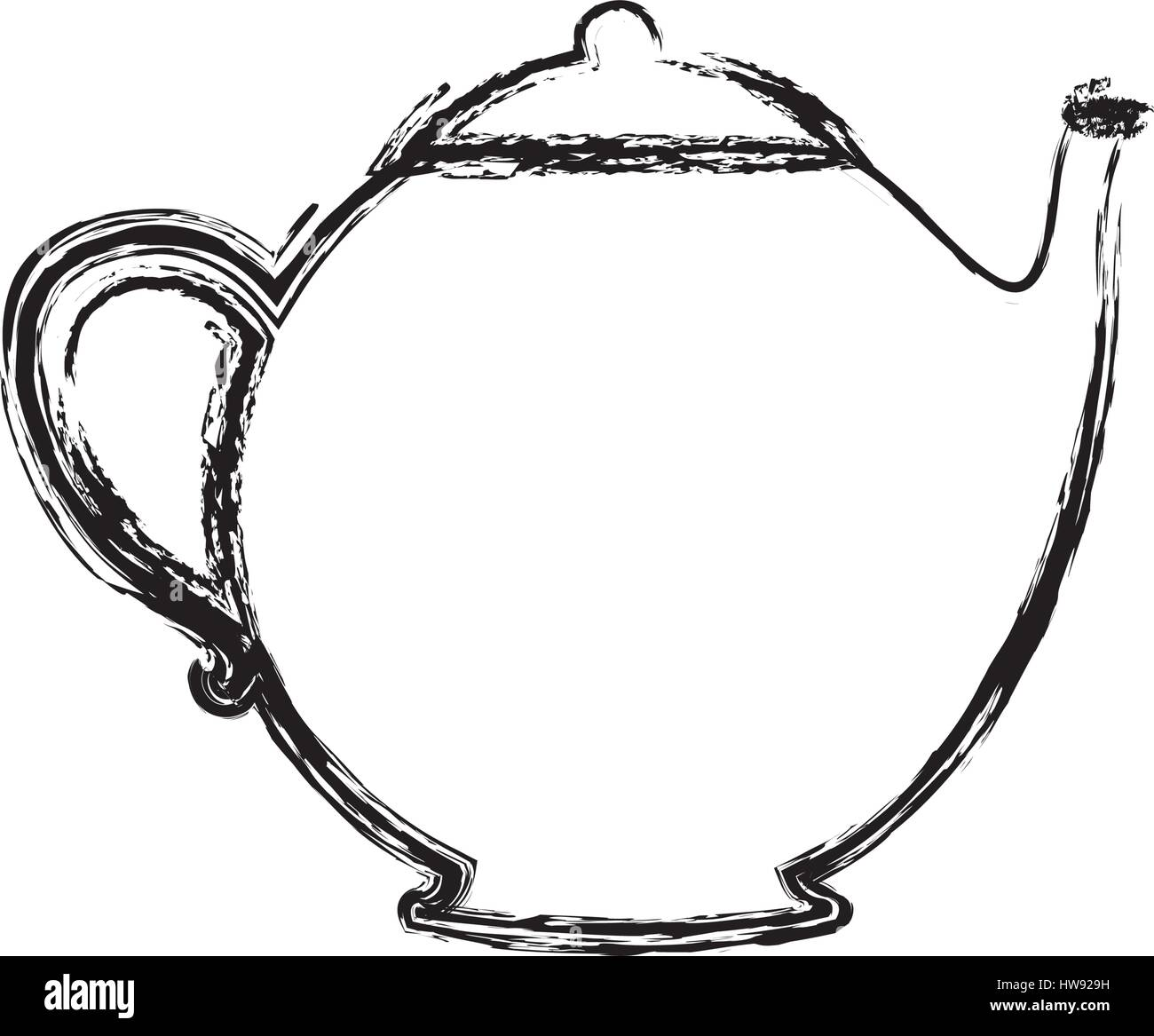 blurred silhouette teapot drink icon flat - Stock Vector