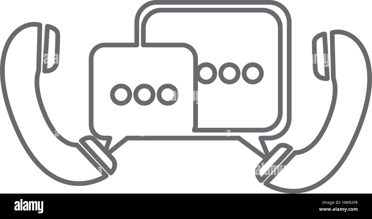 grayscale silhouette of telephones with dialogue box - Stock Image