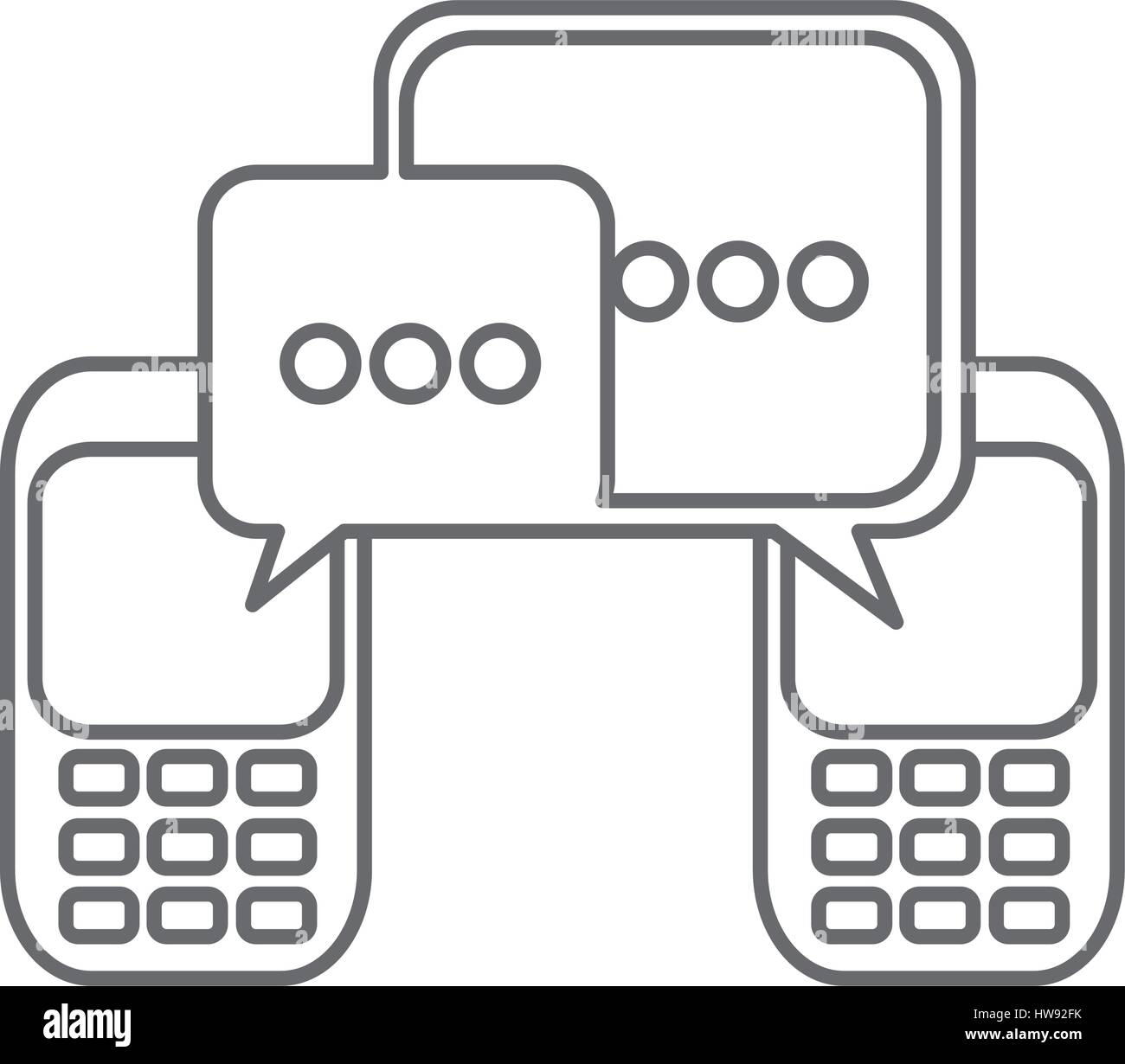 grayscale silhouette of cell phones communication dialogue box - Stock Image