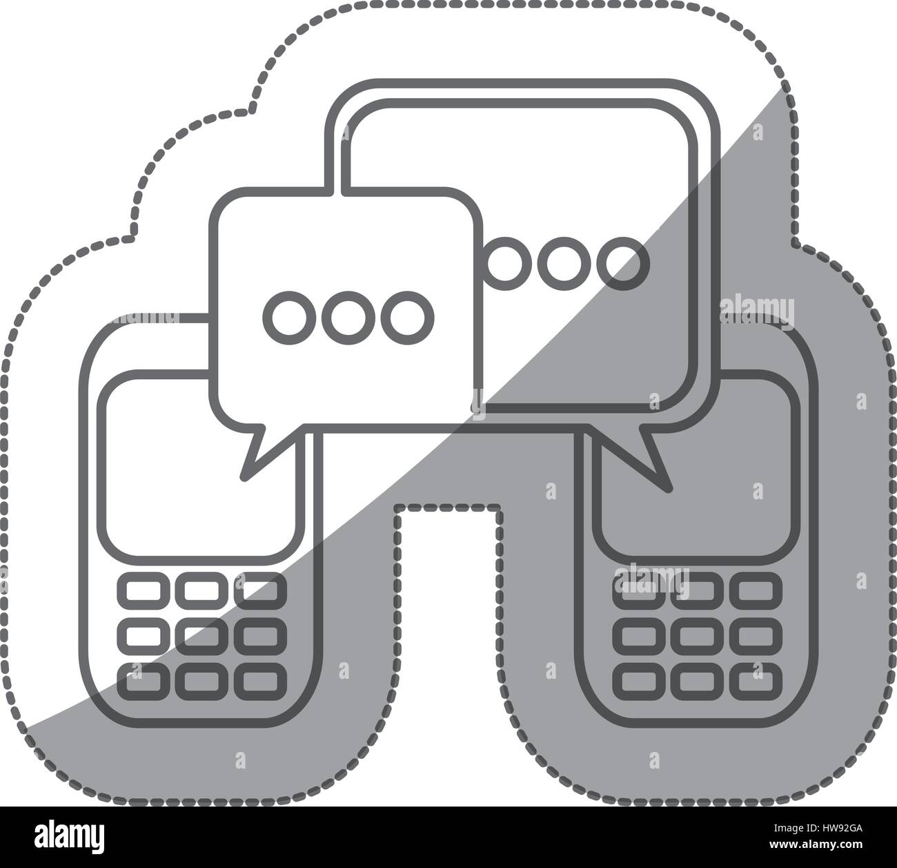 grayscale silhouette sticker of cell phones communication dialogue box - Stock Image