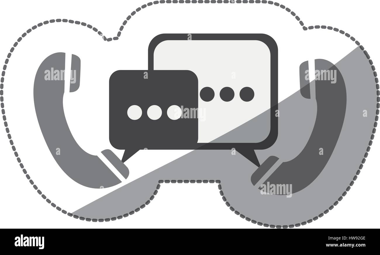 monochrome silhouette sticker of telephones with dialogue box - Stock Image