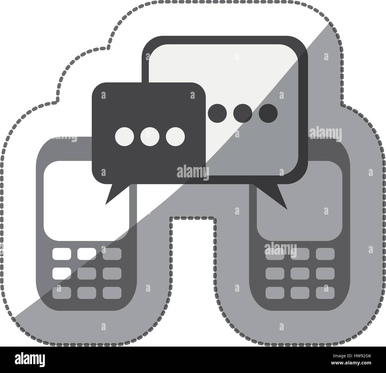 monochrome silhouette sticker of cell phones communication dialogue box - Stock Image