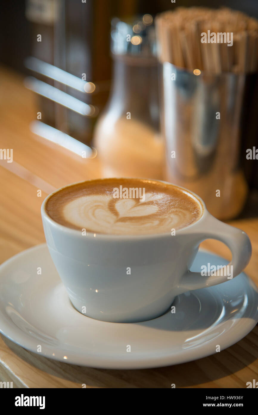 Cappuccino and lattes - Stock Image