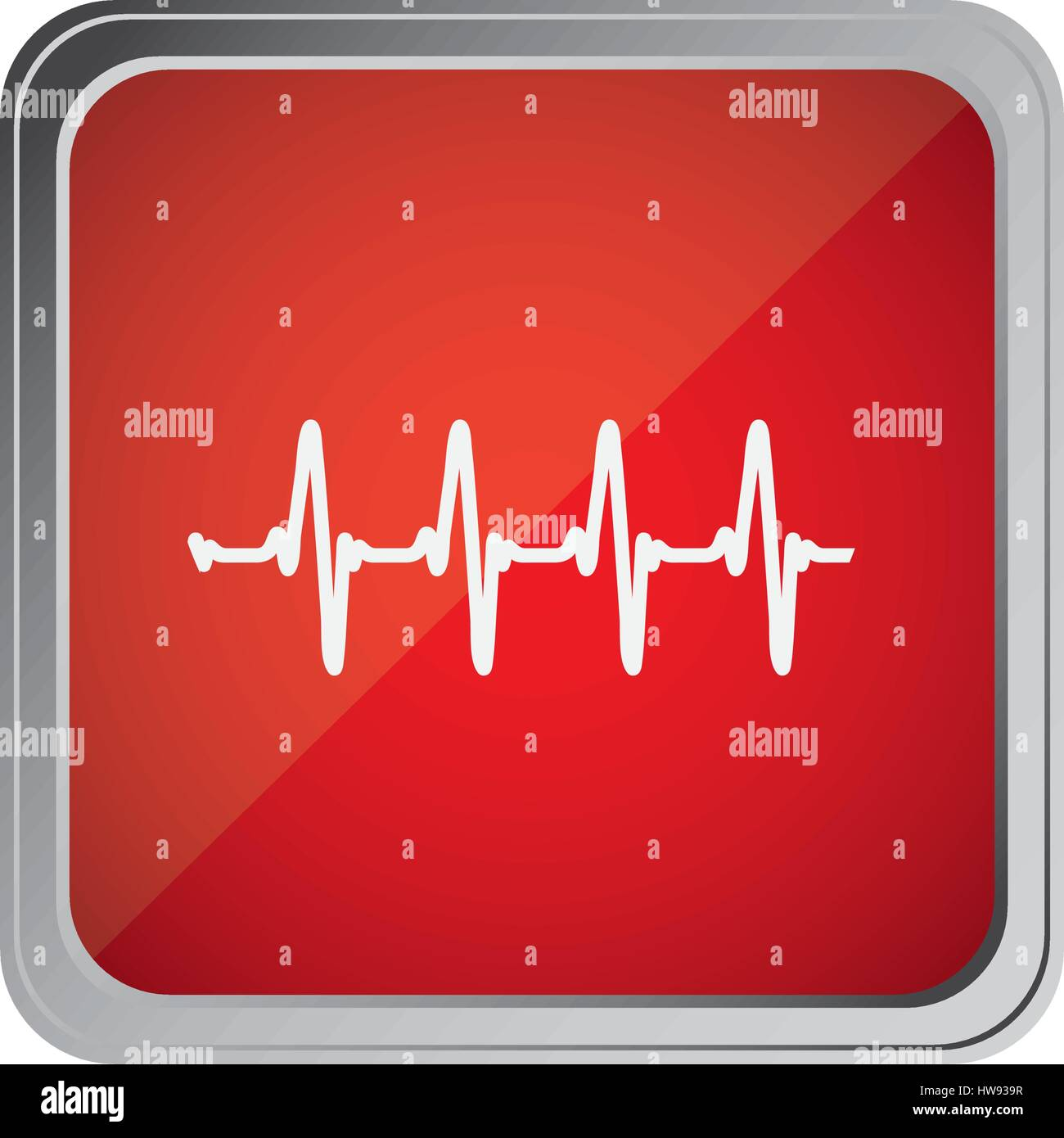 button with vital sign line with background red - Stock Image