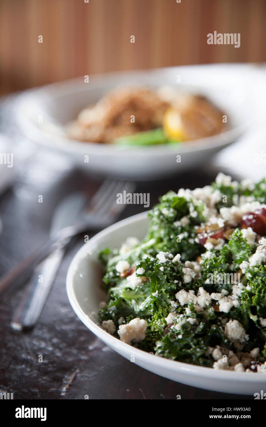 kale salad at restaurant in San Antonio, TX - Stock Image