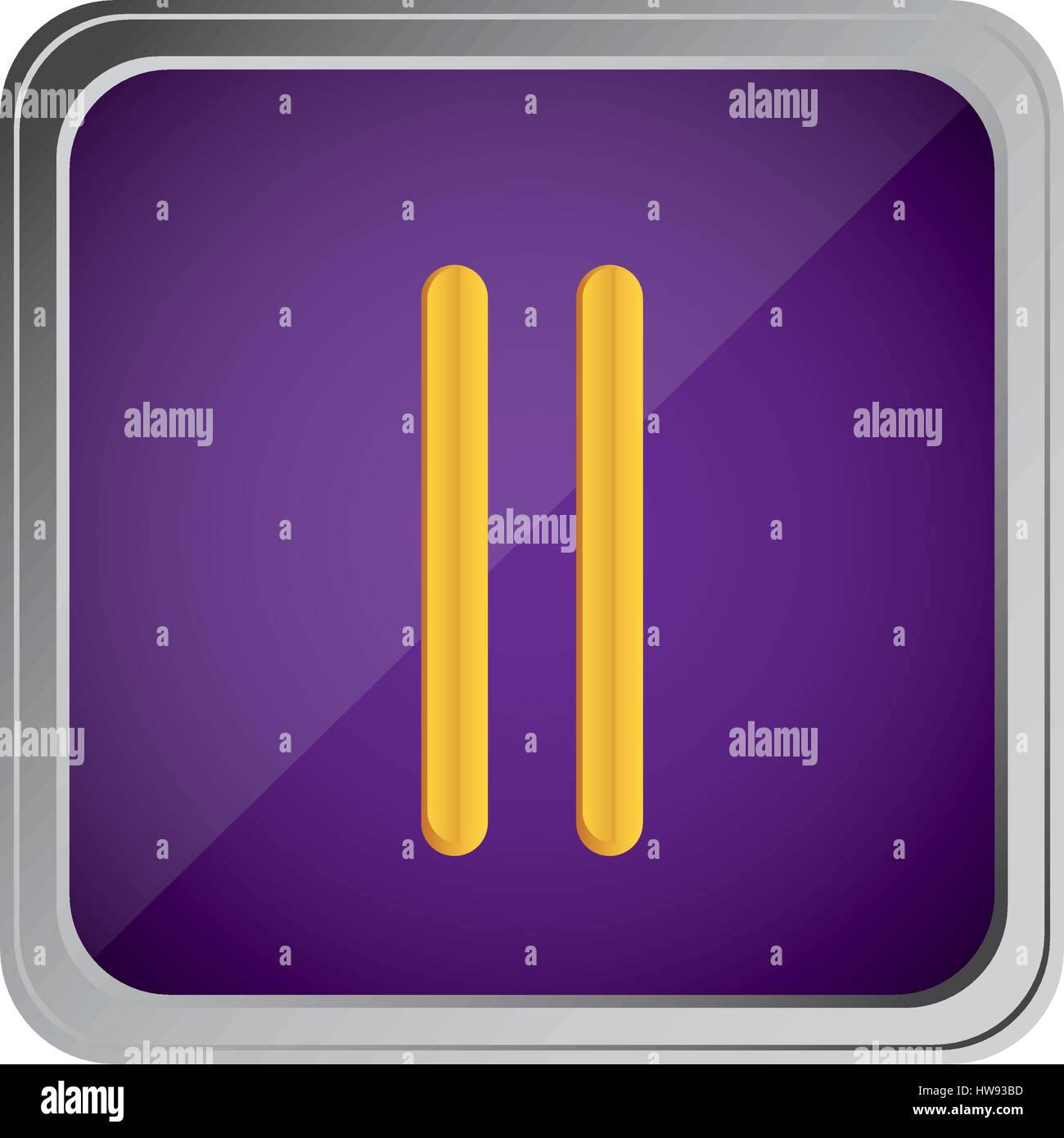 pause button icon with background purple - Stock Image