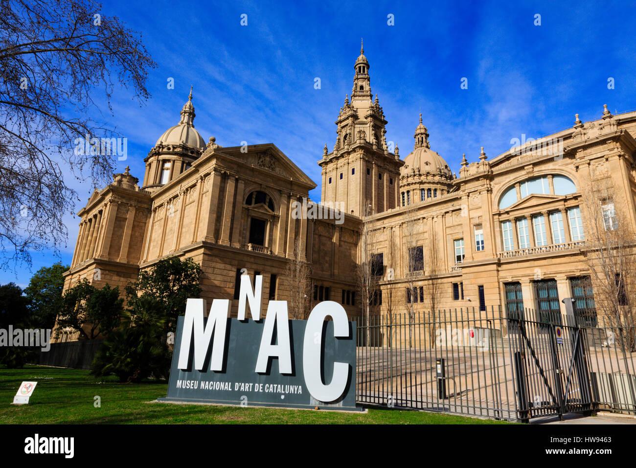 The MNAC, Museu Nacional d'Art de Catalunya, in Barcelona, Catalunya, Spain - Stock Image
