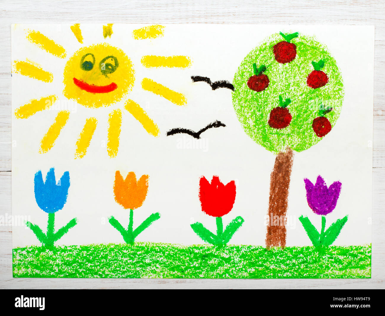Colorful drawing: landscape with apple tree, tulip flowers an happy ...