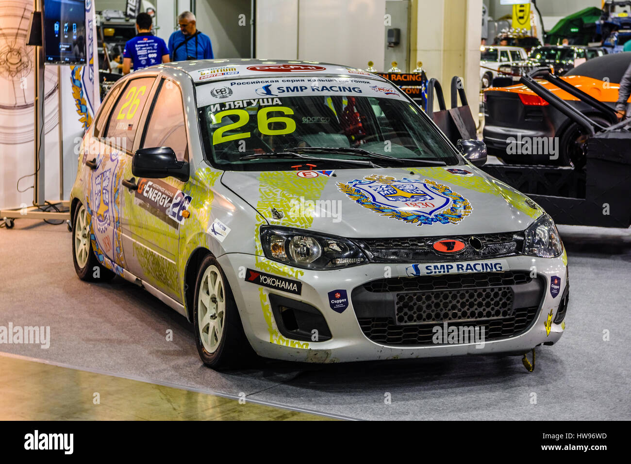 MOSCOW - AUG 2016: Lada VAZ Kalina 2192 SMP Racing presented at MIAS Moscow  International