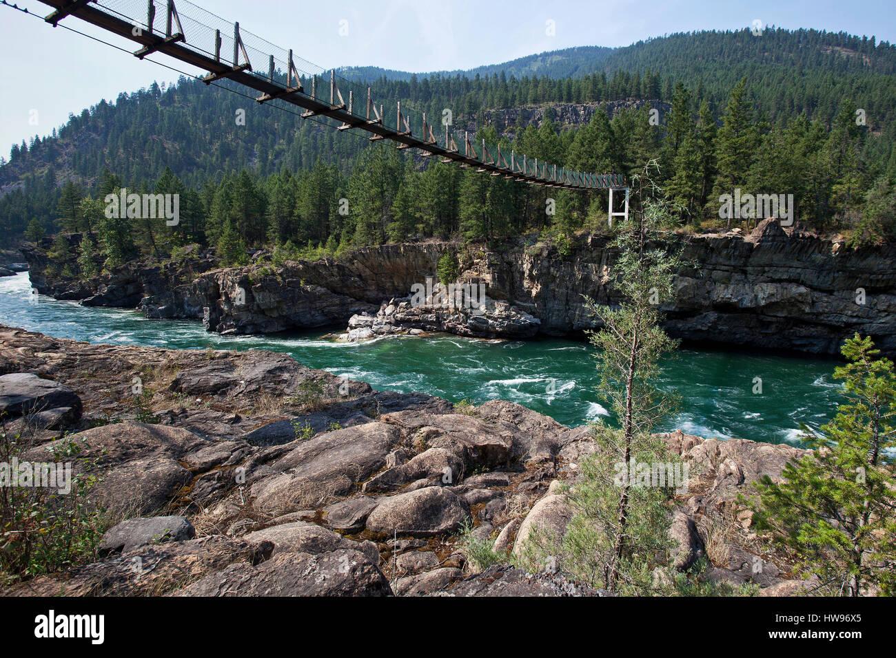 Suspension bridge over the Kootenay River near Libby, Montana Province, USA - Stock Image