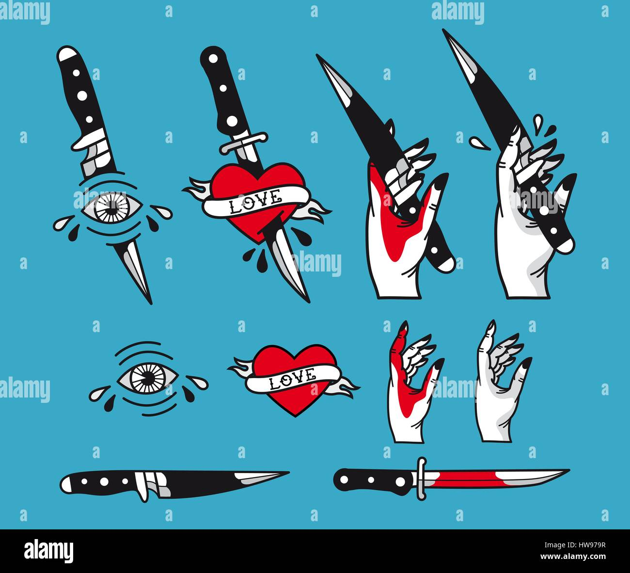 Vector Traditional Tattoo Style Set Hearts Knife Eye Hand Stock