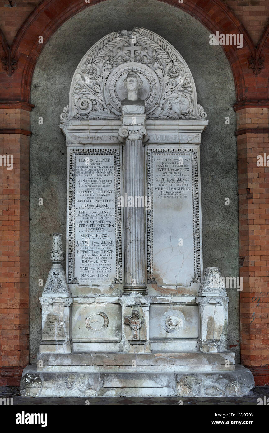 Tomb Leo von Klenze, architect, 1784-1864, Südfriedhof, Munich, Bavaria, Germany Stock Photo