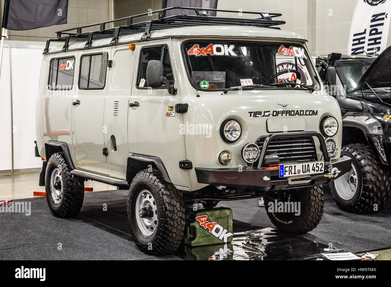 MOSCOW - AUG 2016: UAZ 452 presented at MIAS Moscow International  Automobile Salon on August 20, 2016 in Moscow, Russia.