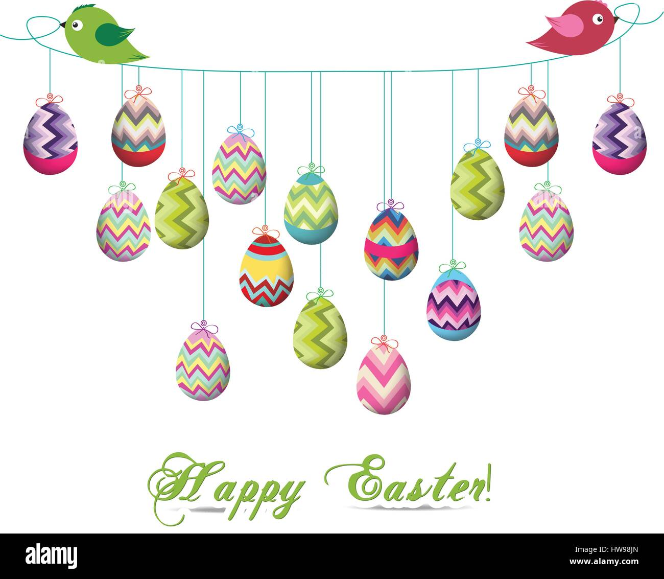 Two Birds Hold Rope With Easter Eggs