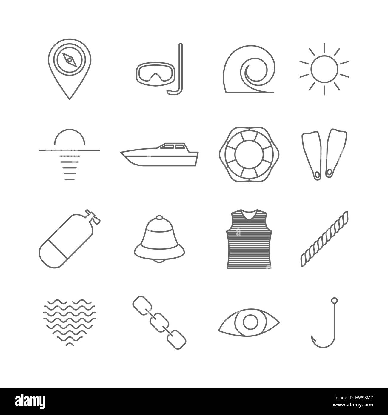 f3a634a21 Set icons outline nautical of thin lines, isolated on white Stock ...