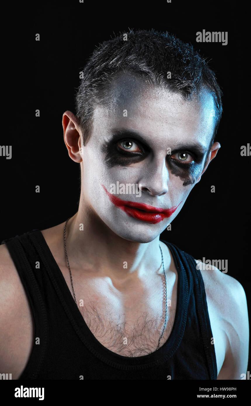 Spooky man on black background Stock Photo