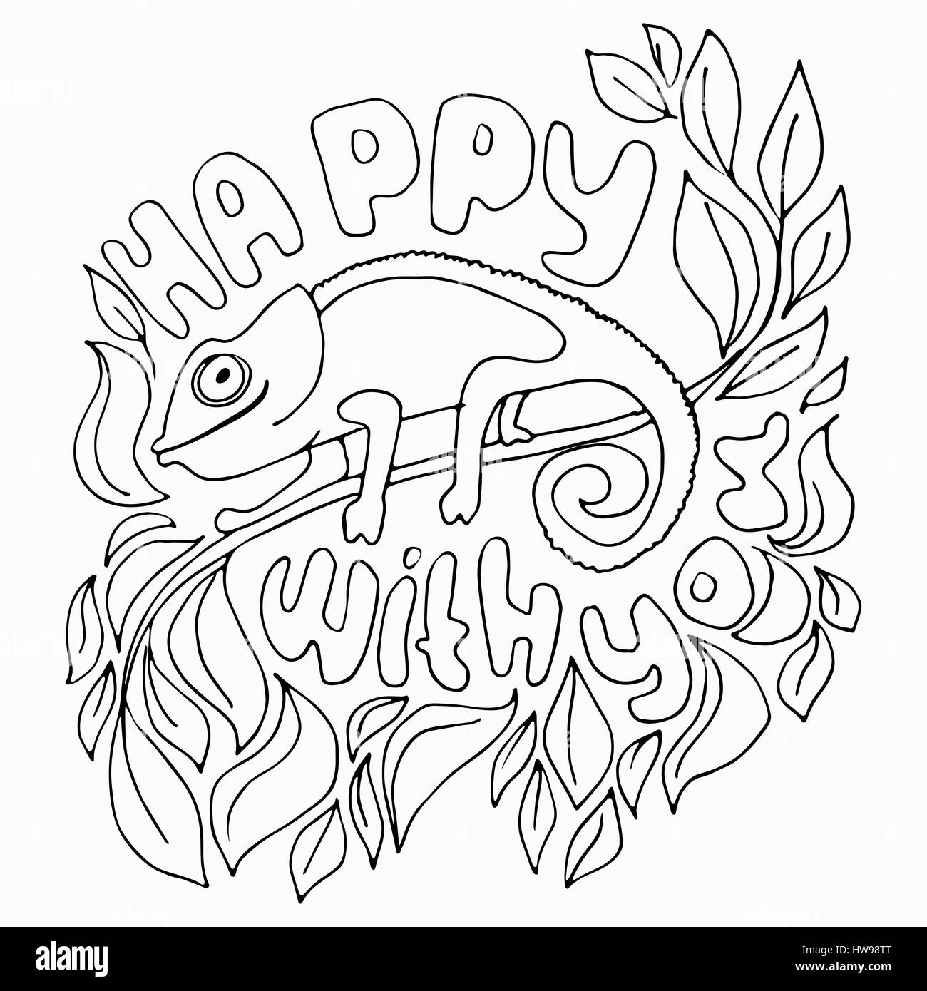 Happy With You Silhouette Illustration