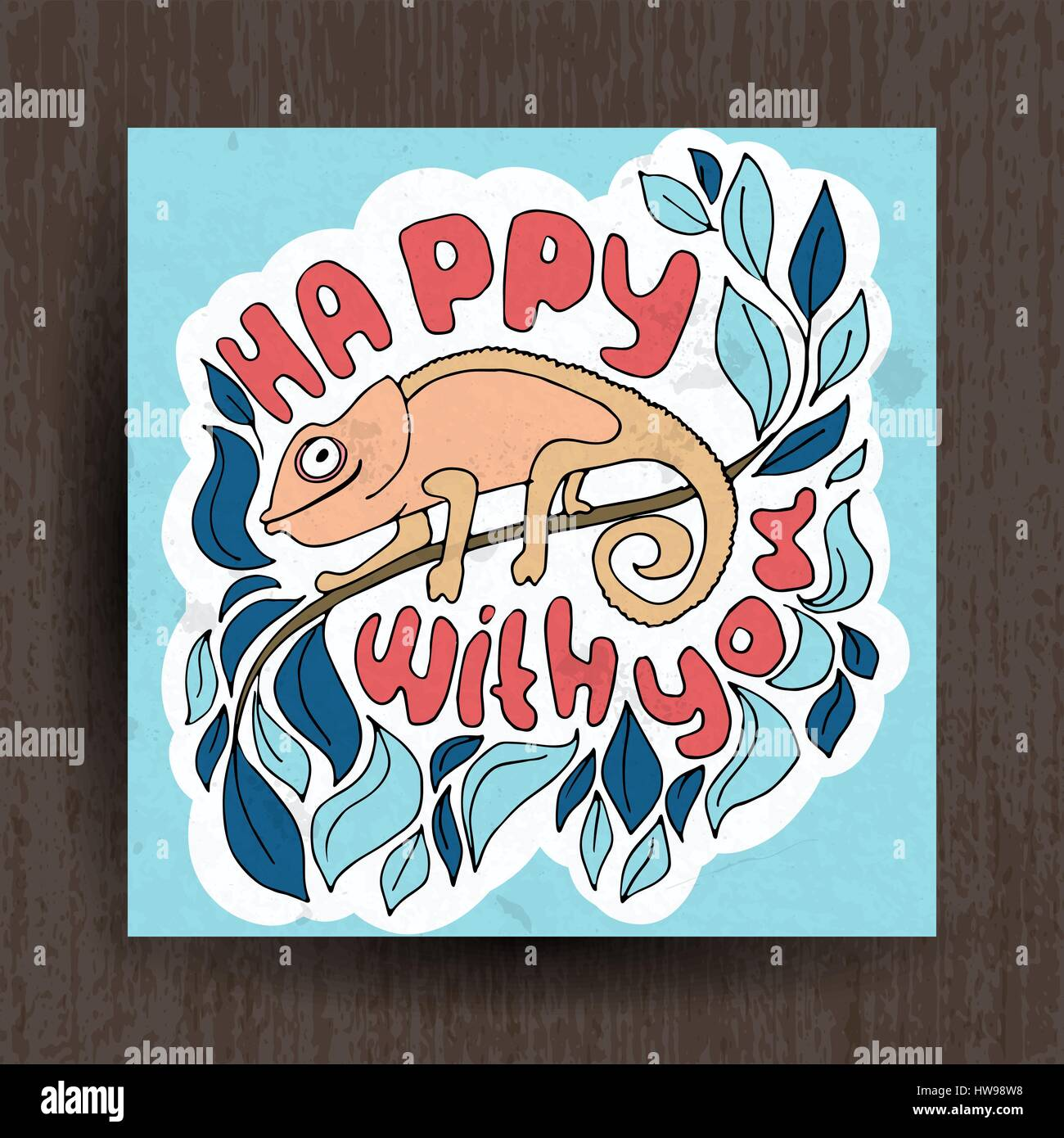 Happy with you illustration - greetings card cute animals - Stock Vector