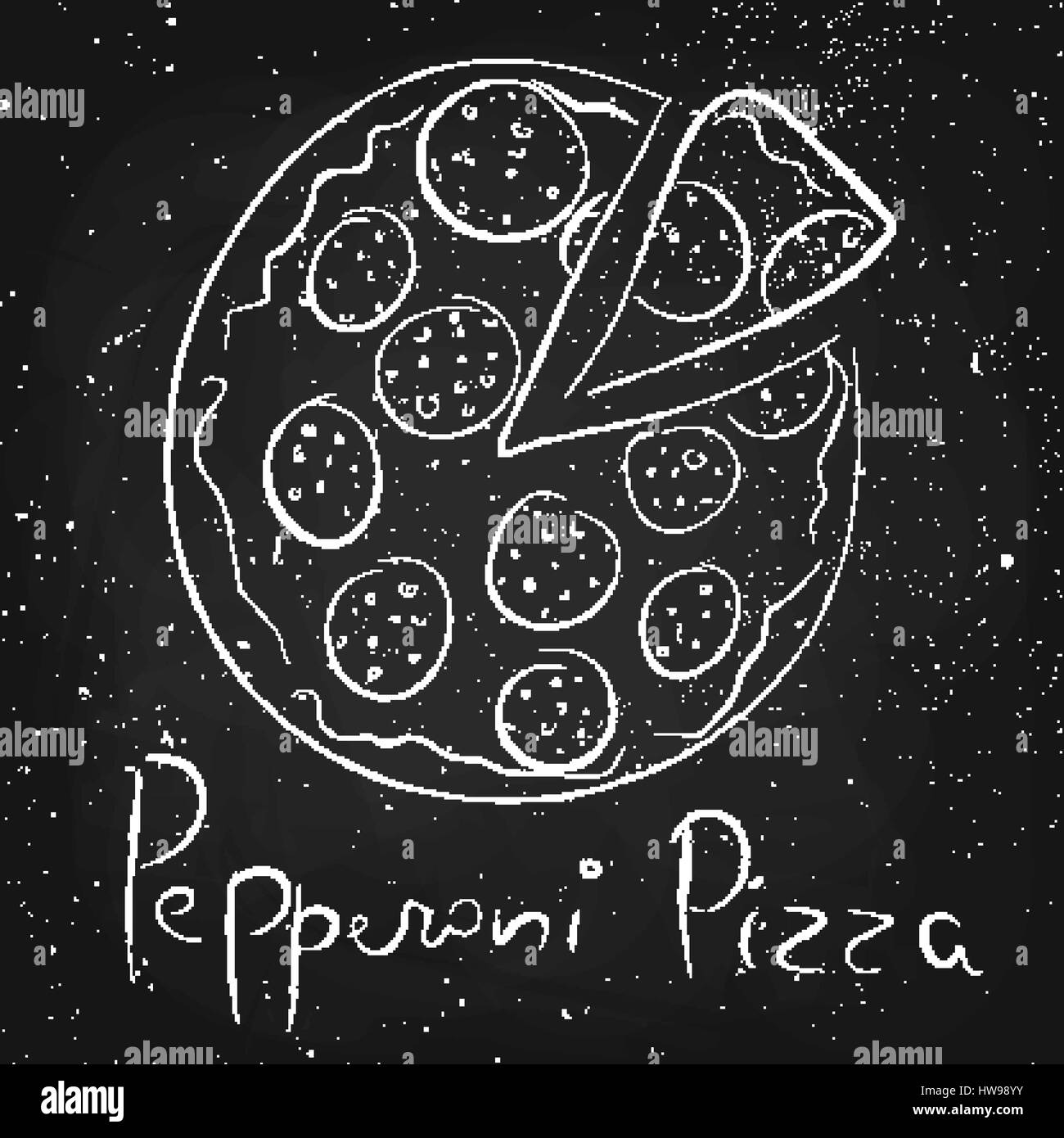 Pepperoni pizza, drawn in chalk on a blackboard - Stock Vector