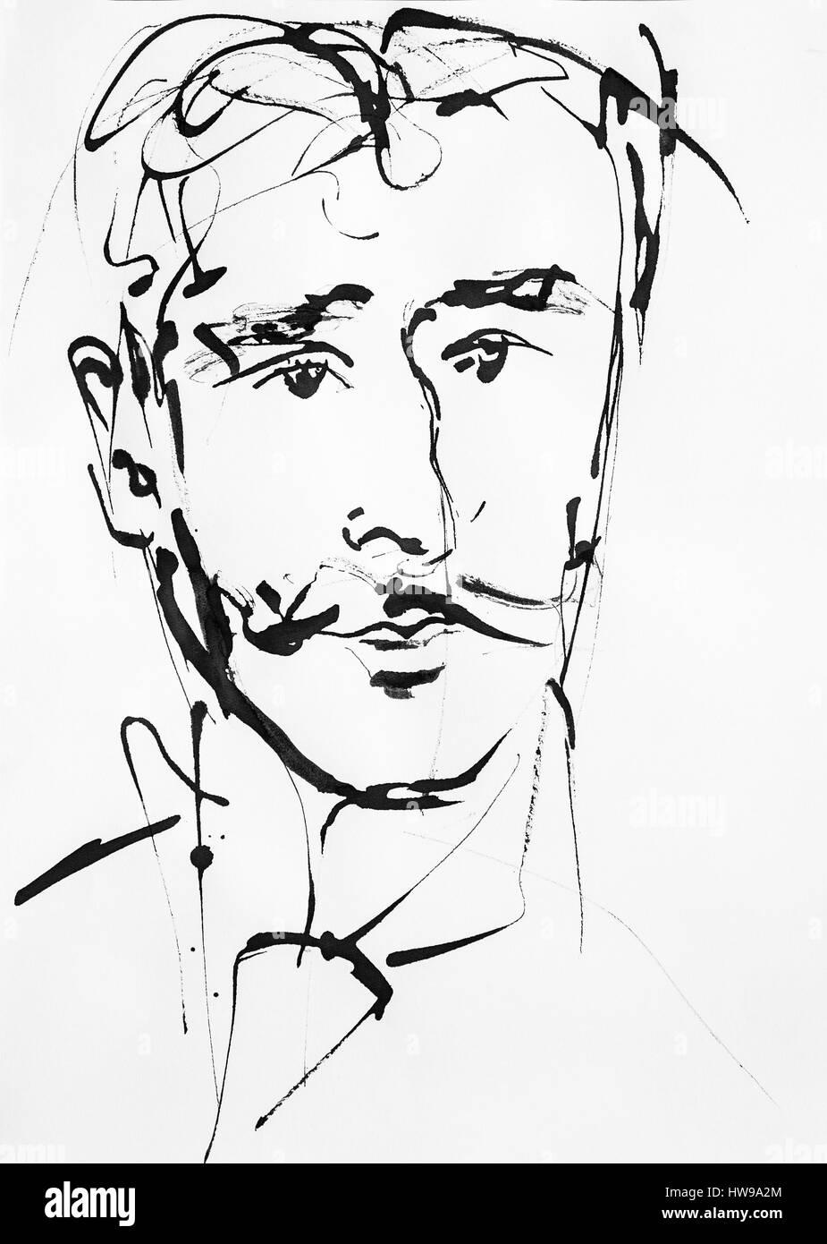 Portrait de Georges Feydeau (1862-1921), ecrivain, auteur dramatique francais - illustration of Ewa KLOS ©Ewa - Stock Image