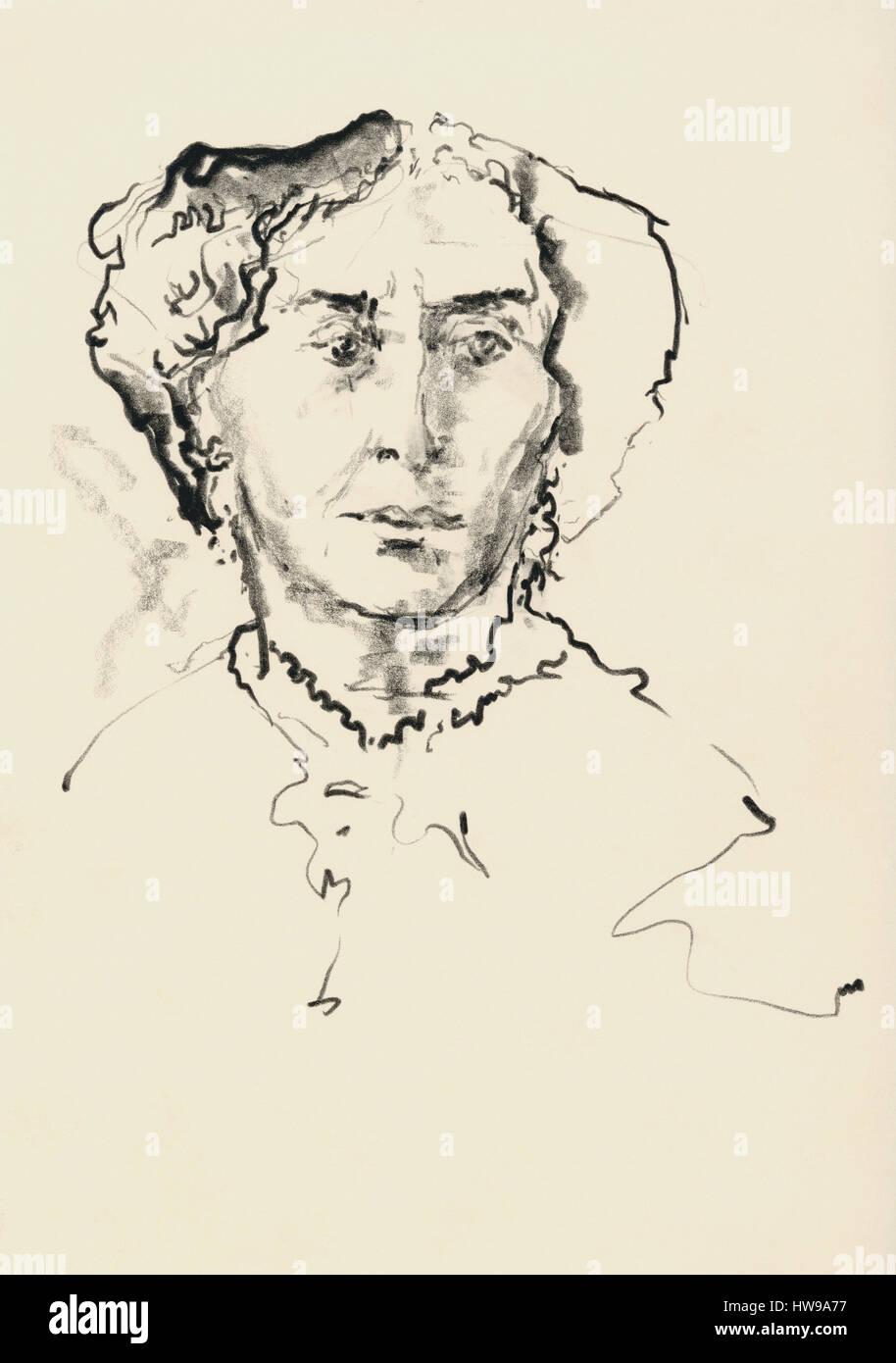 Portrait de George Sand (Amantine Aurore Lucile Dupin, baronne Dudevant, 1804-1876), romanciere, auteur dramatique - Stock Image