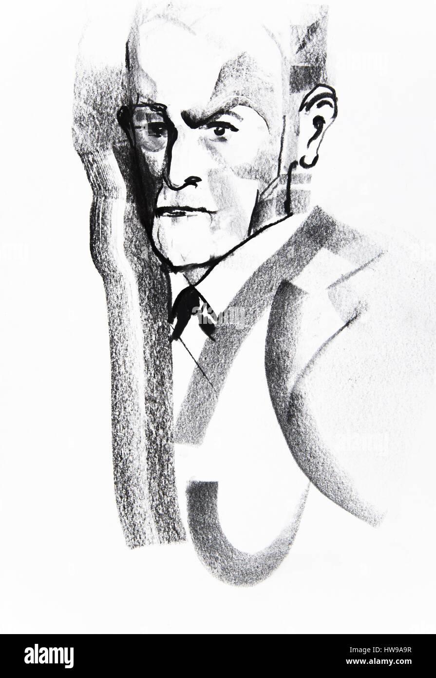 Sigmund Freud (1856-1939), neurologist and psychotherapist - illustration of Ewa KLOS ©Ewa KLOS/Opale - Stock Image