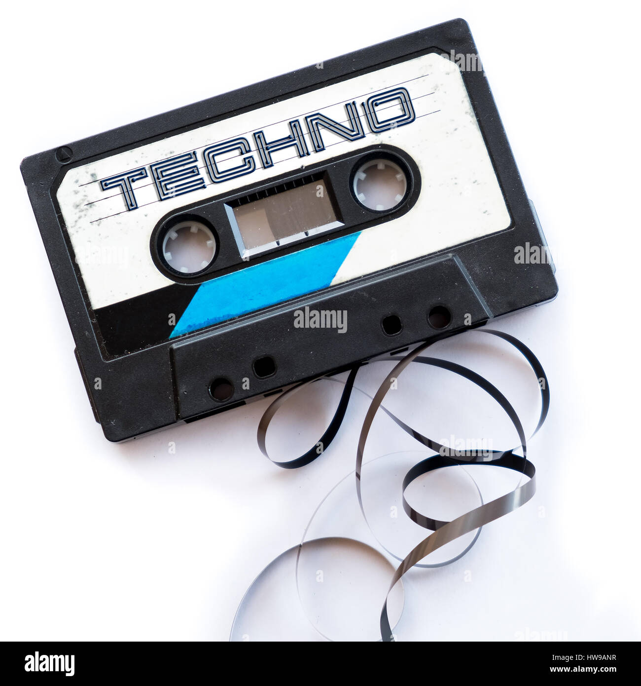 techno music dance musical genres audio tape label - Stock Image